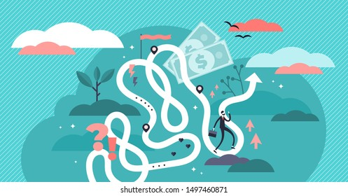 Life journey vector illustration. Flat tiny symbolic person destiny concept. Abstract lifetime choices and opportunity zigzags with unknown future creative visualization. Being freedom adventure map.