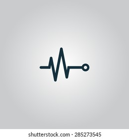 Life line - Heart beat, cardiogram. Flat web icon or sign isolated on grey background. Collection modern trend concept design style vector illustration symbol