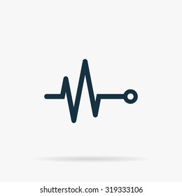 Life line - Heart beat, cardiogram. Flat vector web icon or sign on grey background with shadow. Collection modern trend concept design style illustration symbol