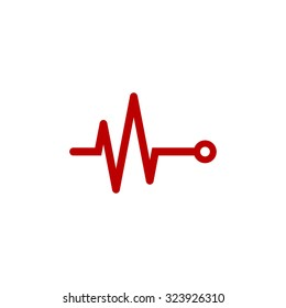 Life line - Heart beat, cardiogram. Red flat icon. Vector illustration symbol