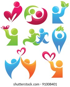 life, love ad leaves, vector collection of people symbols