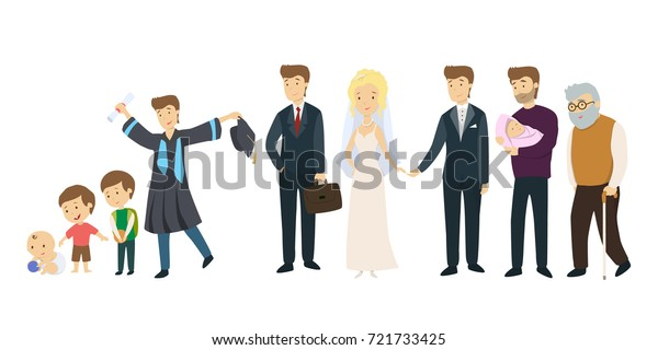 Life Man Stages Mal Life Baby Stock Vector (Royalty Free
