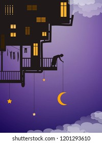 life on heavens, put the moon on the night sky, house on the sky with man putting the moon above the clouds, fairy characters, shadows, vector