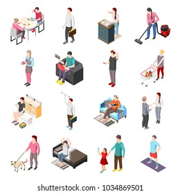 Life of ordinary people isometric icons set with men and women involved in daily routine work isolated vector illustration