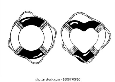 Life rings with sea boat rope and its romantic version, hand drawn isolated vector illustration in black and white