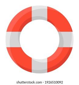 Life saving tube rings, lifebuoy flat design icon