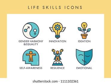 Life skill concept icons for web, app, presentation, etc.