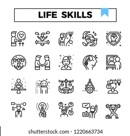 Life skill outline icon set.