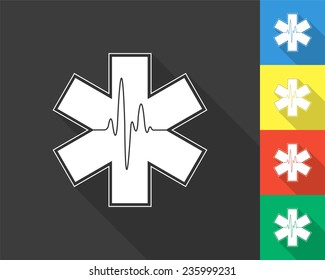 life star icon - medical symbol of emergency - gray and colored (blue, yellow, red, green) vector illustration with long shadow