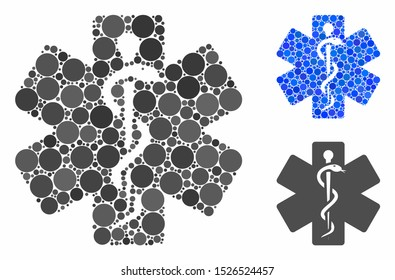 Life star medical emblem composition for life star medical emblem icon of round dots in variable sizes and shades. Vector dots are organized into blue collage.