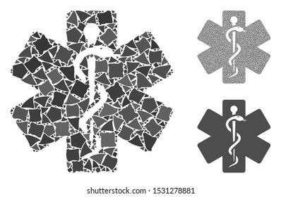 Life star medical emblem mosaic of joggly elements in variable sizes and color tinges, based on life star medical emblem icon. Vector unequal elements are organized into mosaic.