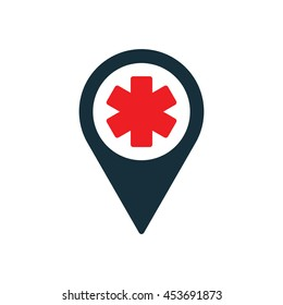 life star medical pin location icon on white background