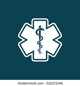 life star and medical snake icon on blue background