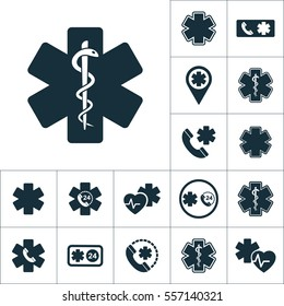 life star snake icon, medical set on white background