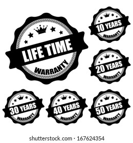 Life Time 10 - 50 years black stamp and sticker- Vector illustration