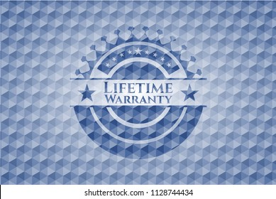 Life Time Warranty blue badge with geometric pattern background.