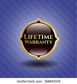 Life Time Warranty gold shiny emblem