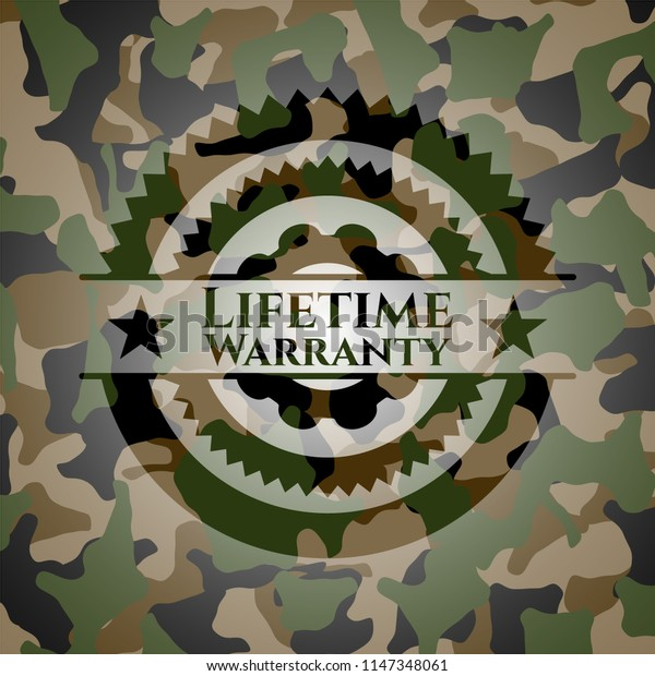 Life Time Warranty written on a camo texture