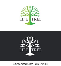 Life tree logo circle vector design - green tone on white background and white tone on dark grey background