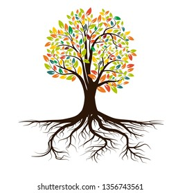 Life tree with roots . Vector illustration. Icon isolated on white background.
