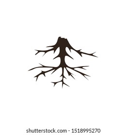 Life tree with roots . Vector illustration icon isolated on white background.