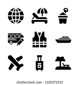 life, umbrella, airplane and international icons in Travel vector set. Graphics for web and design