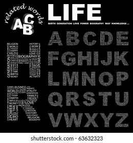 LIFE. Vector letter collection. Illustration with different association terms.