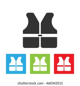 Life vest icon. Life vest logo isolated on white background. Simple flat vector illustration.