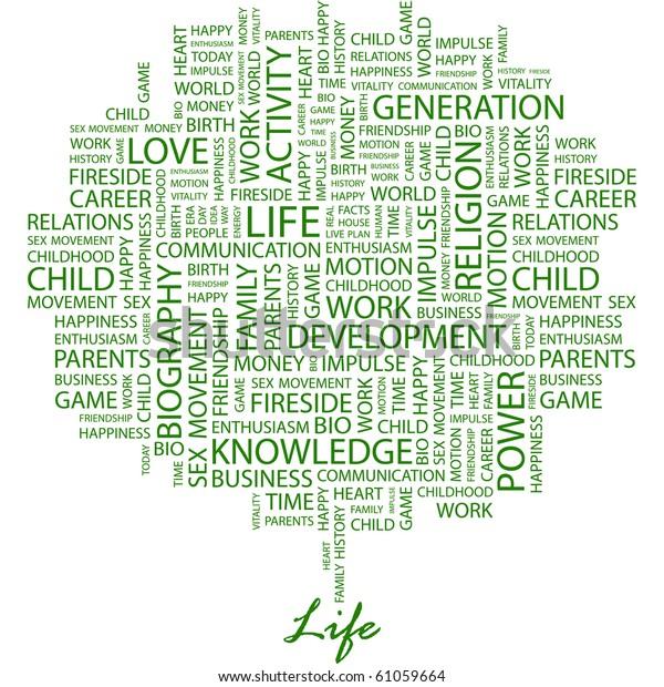 Life Word Collage On White Background Stock Vector (Royalty
