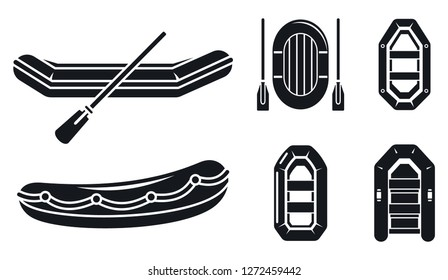 Lifeboat icon set. Simple set of lifeboat vector icons for web design on white background