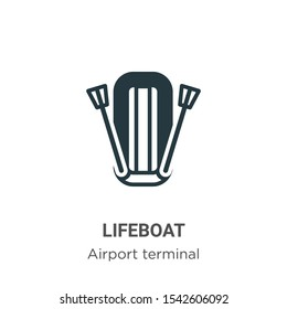 Lifeboat vector icon on white background. Flat vector lifeboat icon symbol sign from modern airport terminal collection for mobile concept and web apps design.