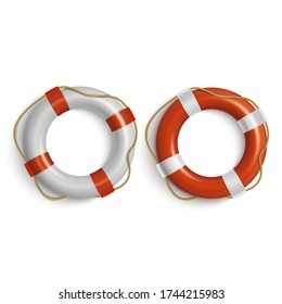 Lifebuoies with rope around realistic icons set. Life preserver or saver red and white. Standart flotation, inflatable rings. Swimming pool safety and rescue equipment vector isolated illustration.