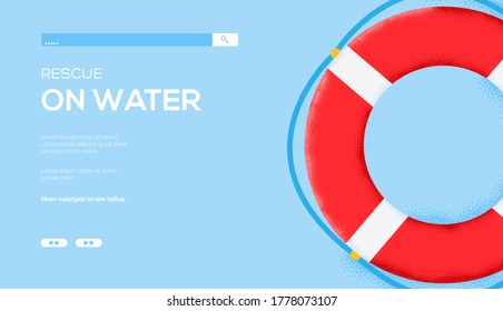 lifebuoy concept flyer, web banner, ui header, enter site.  Grain texture and noise effect. Place for text, place for copying. Modern illustration slider site page. Vector design image.