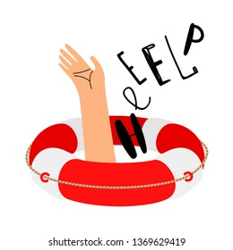 Lifebuoy and hand to call for help. Lifebuoy and help, emergency and rescue. Vector illustration
