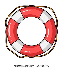 Lifebuoy icon in cartoon style isolated on white background. Surfing symbol stock vector illustration.