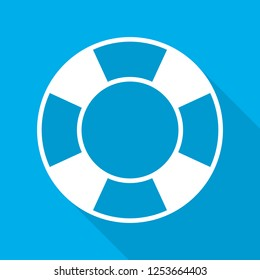Lifebuoy icon in flat design. Vector illustration. Symbol of Lifebuoy with long shadow on blue background.