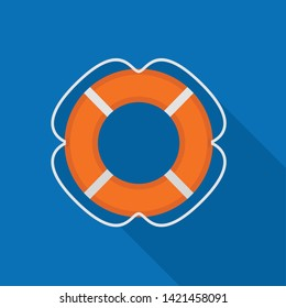 Lifebuoy icon. Flat illustration of lifebuoy vector icon for web design