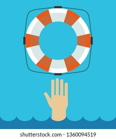 Lifebuoy icon in flat style isolated on a light background. Simple vector life ring or life preserver symbol.