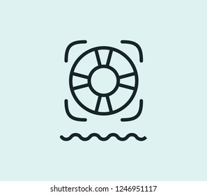 Lifebuoy icon line isolated on clean background. Lifebuoy icon concept drawing icon line in modern style. Vector illustration for your web mobile logo app UI design.