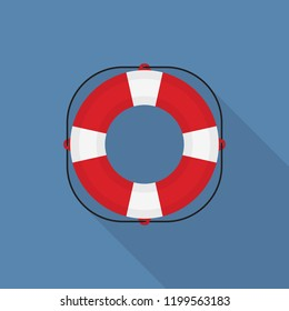 Lifebuoy icon with long shadow on blue background, flat design style
