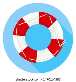 Lifebuoy icon on a blue background. Flat style.
