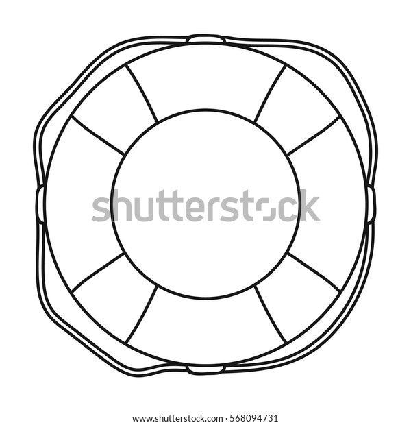 Lifebuoy icon in outline style isolated on white background. Surfing symbol stock vector illustration.