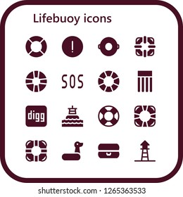 lifebuoy icon set. 16 filled lifebuoy icons. Simple modern icons about  - Lifeguard, Advise, Float, Lifesaver, Sos, Lifebuoy, Digg, Buoy, Rubber ring