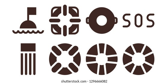 lifebuoy icon set. 8 filled lifebuoy icons. Simple modern icons about  - Float, Buoy, Lifesaver, Sos