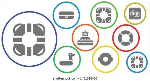 lifebuoy icon set. 9 filled lifebuoy icons.  Collection Of - Lifesaver, Float, Rubber ring, Buoy, Lifeguard, Digg, Lifebuoy