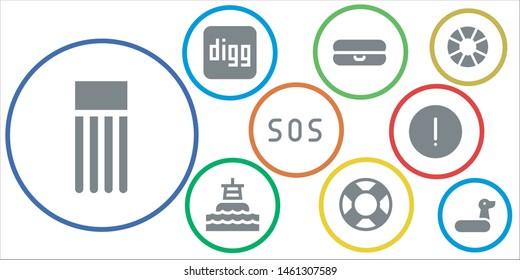 lifebuoy icon set. 9 filled lifebuoy icons.  Simple modern icons about  - Float, Digg, Buoy, Lifebuoy, Sos, Advise, Lifesaver, Rubber ring