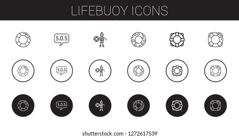 lifebuoy icons set. Collection of lifebuoy with lifesaver, sos, lifeguard, float. Editable and scalable lifebuoy icons.