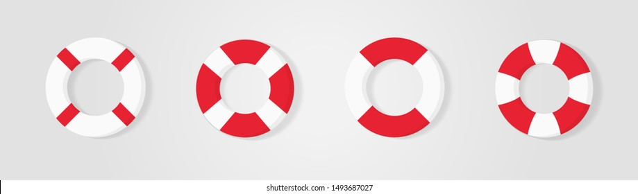 Lifebuoy icons set, equipment of rescuers to save drowning people, vector graphic deign element for business and holiday illustration.