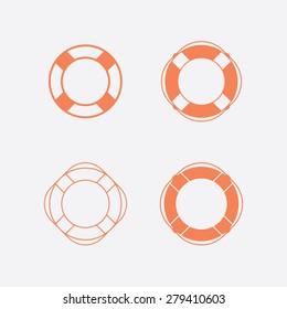 Lifebuoy / life preserver icon set. Vector illustration