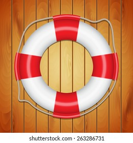 Lifebuoy on wood texture. Background with lifebuoy. EPS10 vector